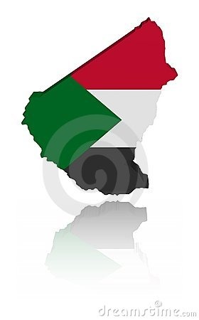 Sudan map flag with reflection