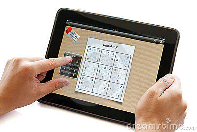 Sudoku puzzle on apple ipad Editorial Stock Photo