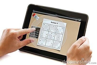 Sudoku puzzle on apple ipad Editorial Stock Photo