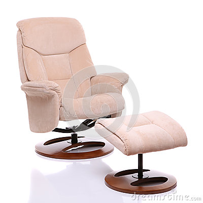 Suede fabric recliner chair with footstool