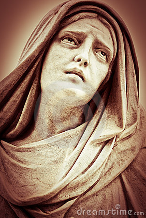 Suffering religious woman statue