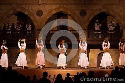 Sufi Dancer Row Tamborines Cairo Editorial Image