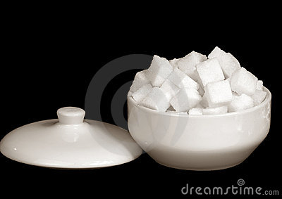 Sugar from a beet in a sugar-bowl