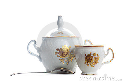 Sugar bowl with cup