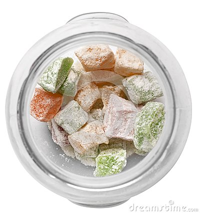 Sugar candy in a glass dish