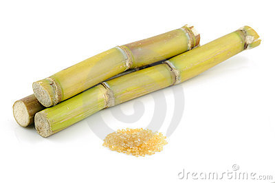 Sugar cane and brown sugar