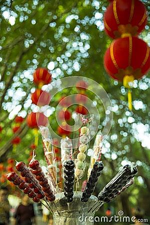 Free Sugar Coated Fruits And Chinese Lanterns Stock Photo - 80879160