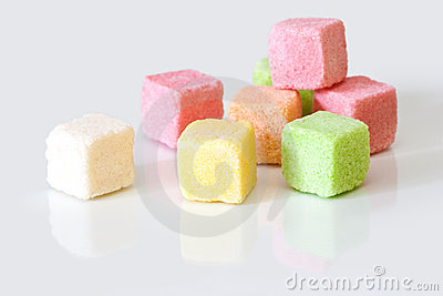 Sugar colored cubes.