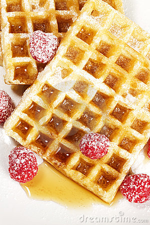 Free Sugar Covered Raspberries On Waffles With Syrup Fr Stock Photos - 20901913