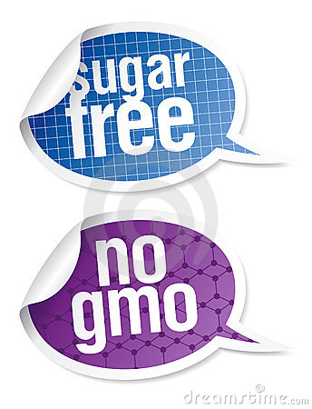 Sugar free and GMO free food stickers