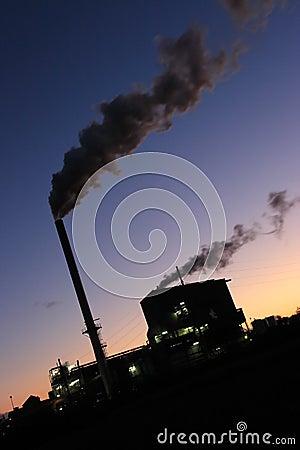 Sugar Mill Smoke Stacks Sunset