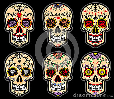 Sugar skull day of the dead set Vector Illustration