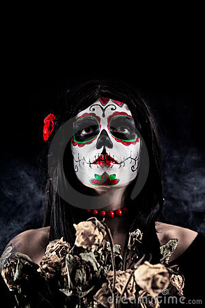 Free Sugar Skull Girl With Dead Roses Stock Photography - 16589902