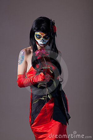 Free Sugar Skull Girl With Rose Royalty Free Stock Images - 23755789