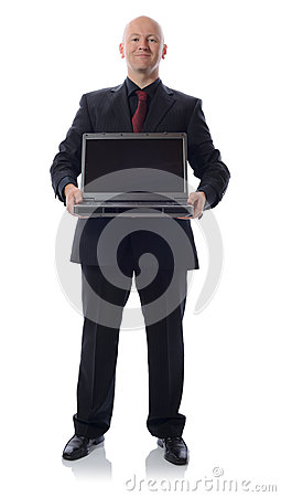 Suit with laptop
