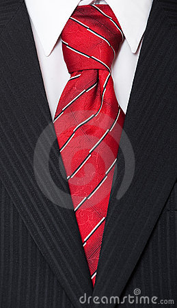 Suit and red necktie