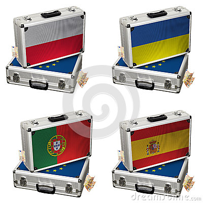 Suitcase with Euro flags and money