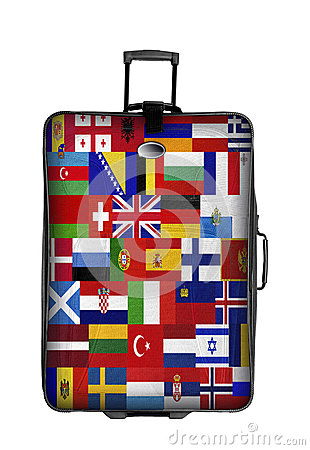 Suitcase with european flags isolated over white