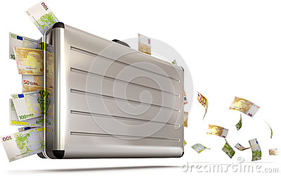 Suitcase with flying money