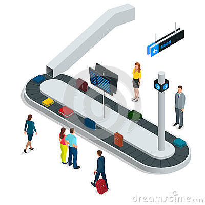 Suitcase on luggage conveyor belt in the baggage claim at airport. Flat 3d vector isometric illustration. Vector Illustration