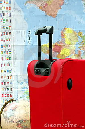 Suitcase or luggage, map and globe for travel