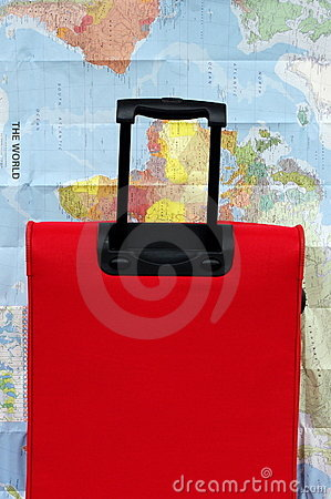 Suitcase or luggage, map for world travel concept