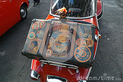 Suitcase on Messerschmitt Kabinenroller Editorial Image