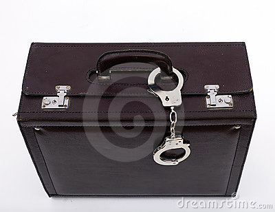Suitcase from pinned closed metal handcuffs