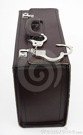 Suitcase from pinned open handcuffs
