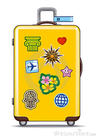 Suitcase for travel with stickers