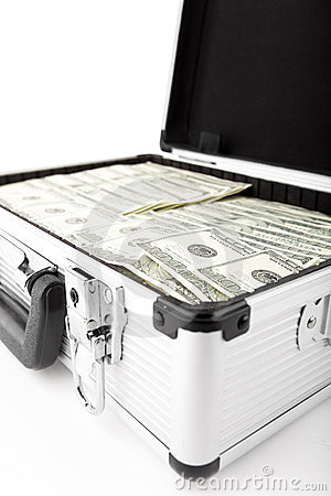 Suitcases with dollars