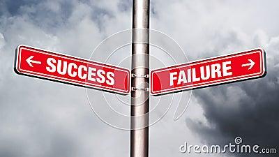 Sukces niepowodzenie drogowy znak wskazuje opposite kierunki zbiory wideo
