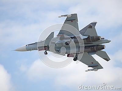 Sukhoi Su-30 jetfighter landing