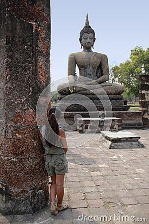 Sukhothai buddha statue temple ruins Thailand