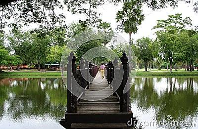 Sukothai jungle temple bridge thailand