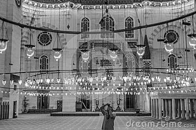 Suleymaniye mosque interior in black and white Editorial Stock Image