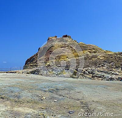 Sulfurous resort in Vulcano, Lipai, Sicily, Italy