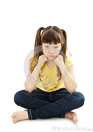 Free Sulky Angry Young Girl Child, Sulking And Pouting. Royalty Free Stock Photos - 45550158