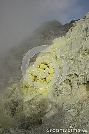 Sulphur deposit. Sumatra, Indonesia