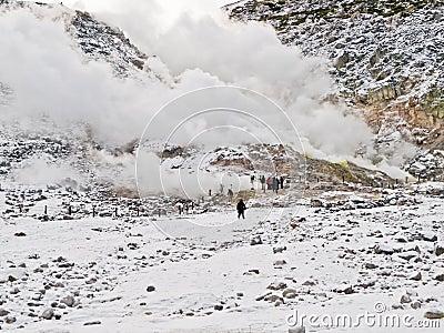 Sulphur fumes and volcanic activity, Hokkaido