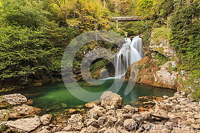 Sum waterfall in the Vintgar Canyon in Slovenia,Europe