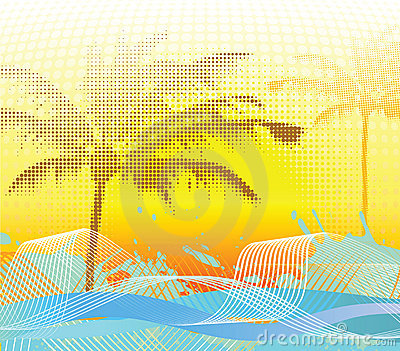 Sumer halftone palm background