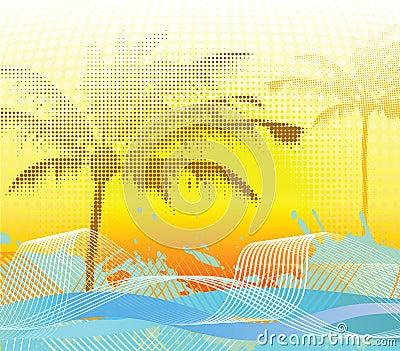 Sumer halftone palm background