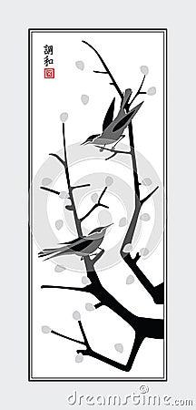 Sumi-e birds