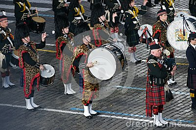Summary band of bagpipes and drums Editorial Photo