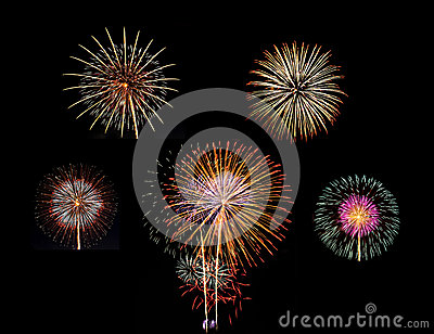 Summary of big Beautiful  Fireworks for celebration