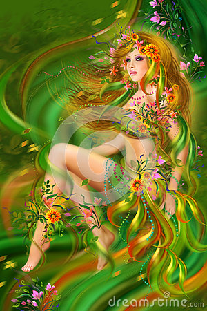 Fantasy  Summer, beauty woman in flower dress