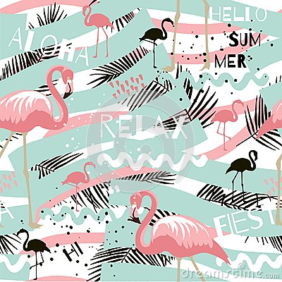 Free Summer Abstract Seamless Pattern With Flamingo Royalty Free Stock Photography - 121735217