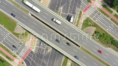 Summer aerial footage of transport junction, traffic cross road junction day view from above with highway road. Top down view of. Traffic jam stock video footage