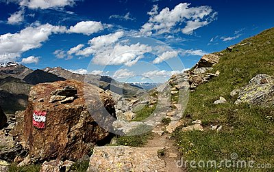Summer alpine footpath